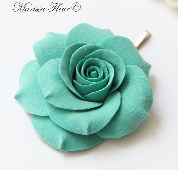 Turquoise Aqua Blue Rose Hair Pin 225 Perfect By
