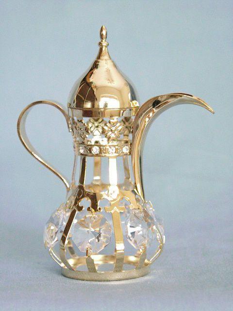 24K GOLD PLATED ARABIAN TEAPOT SWAROVSKI CRYSTAL SOUVENIR