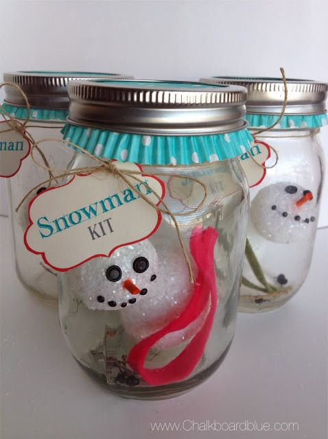 Super-cute idea for kids and parties. {craft for kids: no-melt snowman in-a-jar}