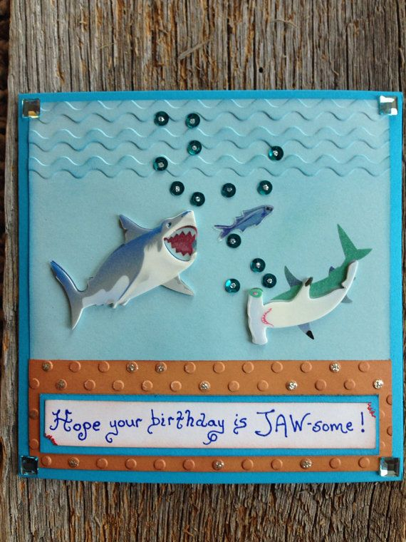 Shark Birthday Card Shark Card For Boys Birthday Fish