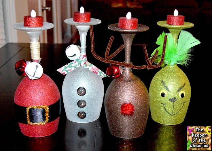Christmas Wine Glass Candle Holders