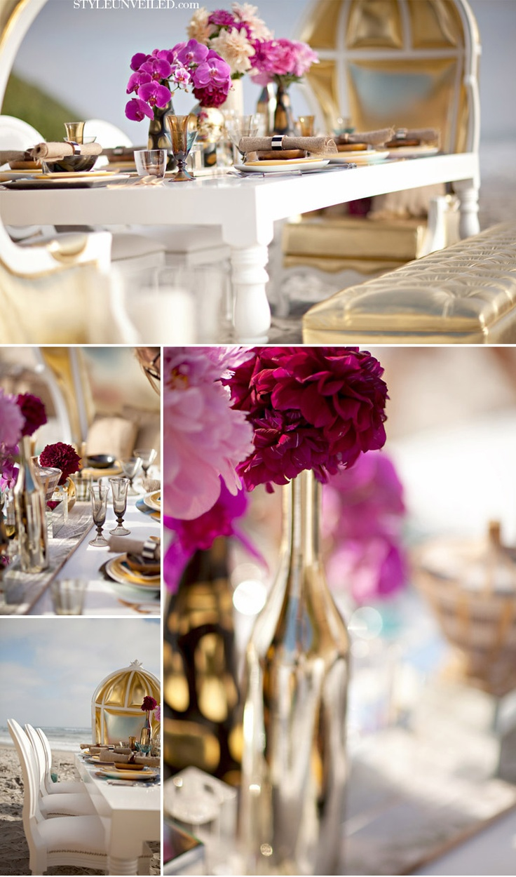 White And Gold With Fuschia Accents Entertaining Sonoma