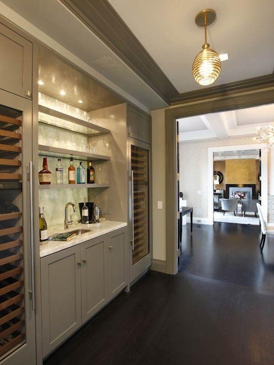 Park Avenue Penthouse Fabulous Wet Bar Design Featuring Twin Glass Front Wine Fridges Flanked
