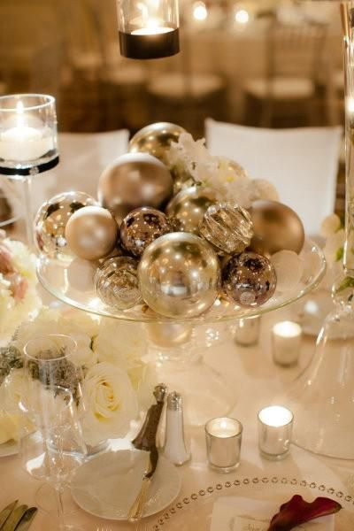 Add shimmer and sparkle to a winter wedding with a centerpiece of ornamental glass balls. Surround with tea lights and your table