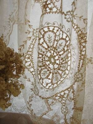 74 X 36 Antique Tambour French Net Lace Curtain Panel Runner Or Pillow Cover Lace Antiques