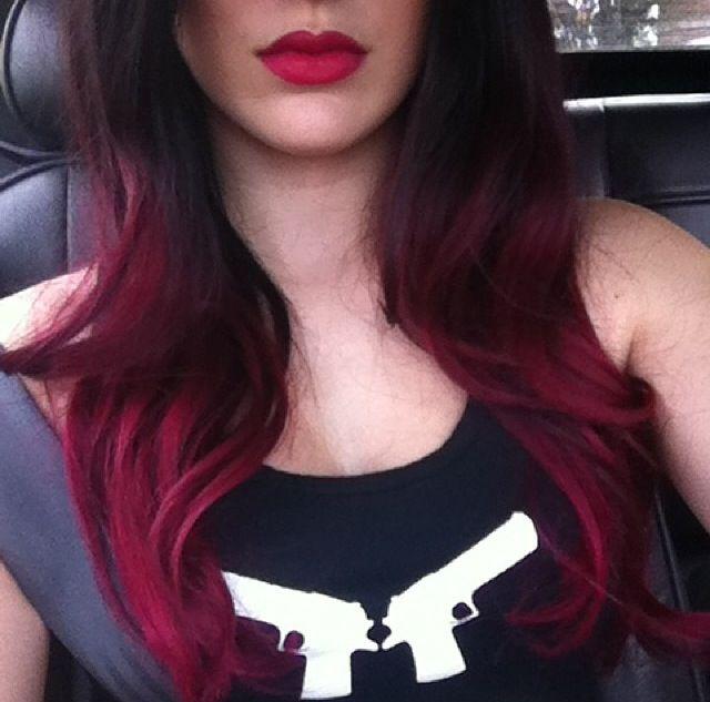 My Hair Black To Burgundy Ombr Hair Pinterest