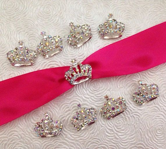 Princess Crown Rhinestone Buckle Slider Ribbon Slider
