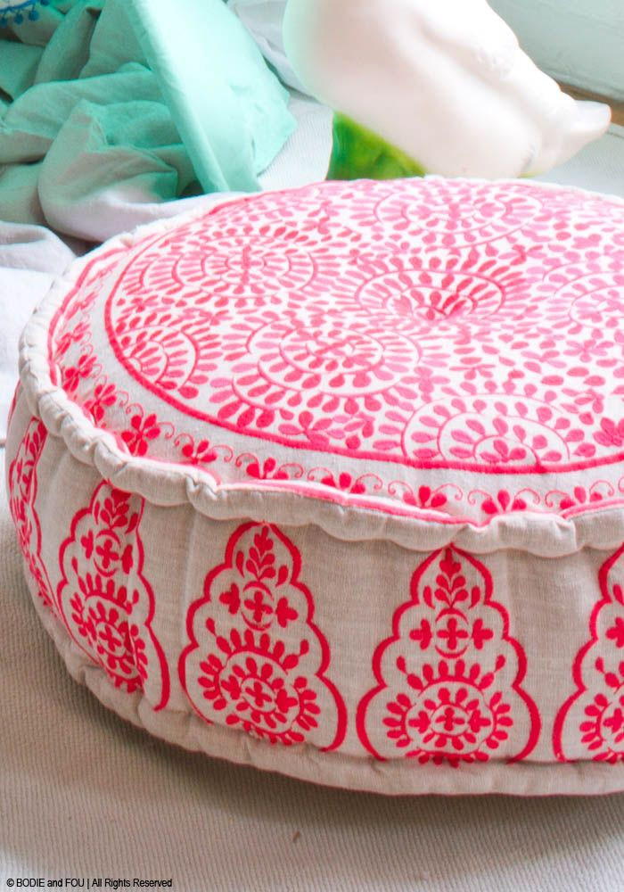 Nomad Embroidered Linen Pouffe, Coral — Bodie and Fou – Award-winning inspiring concept store