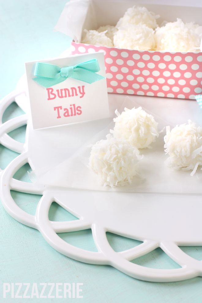 How to make CUTE Easter Bunny Tail Treats! Cream Cheese, almond, coconut candy delight – yum! #itsaparty