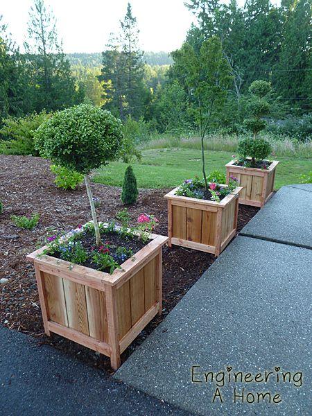 Pretty Front Porch Diy Large Cedar Planter Boxes Trees
