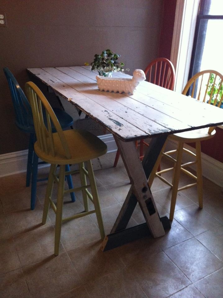 Kitchen Table Bar Height Made From 3 Doors Diy