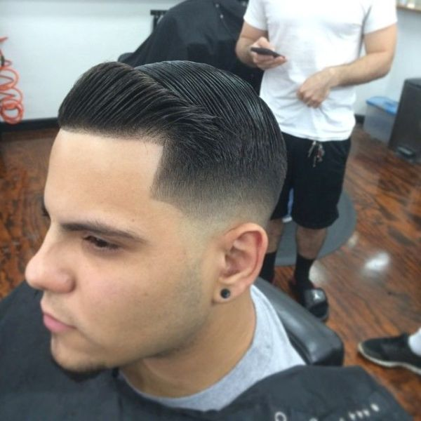 Tight low fade with combover and crisp line-up | Men's ...