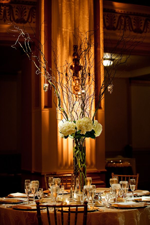 Tall Centerpieces Rustic And Romantic White Hydrangea