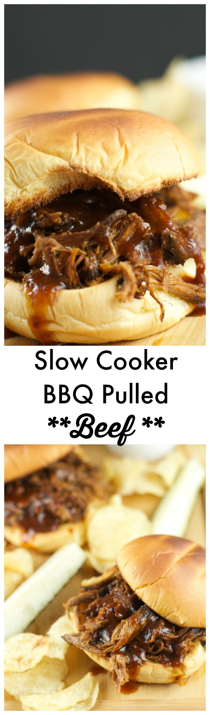 Slow Cooker Pulled BBQ Beef Sandwiches: delicious and tender beef slow cooked in a homemade BBQ sauce served on a toasted