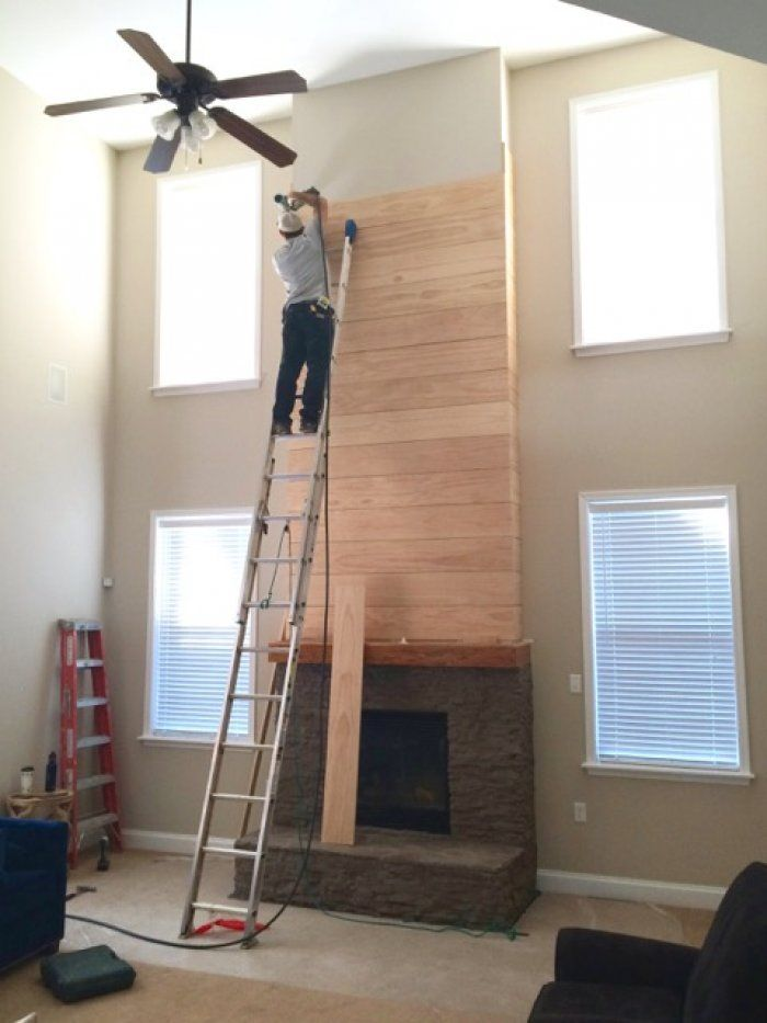 White Painted Stone Amp Shiplap Fireplace Makeover The O
