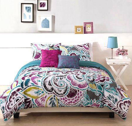 Modern Purple Blue Teen Girl Bedding Twin Or King