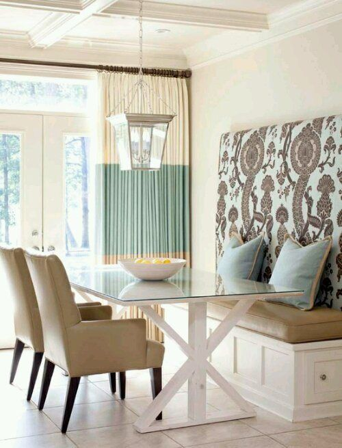 Banquette Dining Room Pretty Palette Of White Sandy Tan