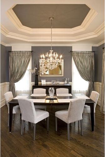 Grey and White Dining Room:  the interior of the tray ceiling is painted to match the wall color