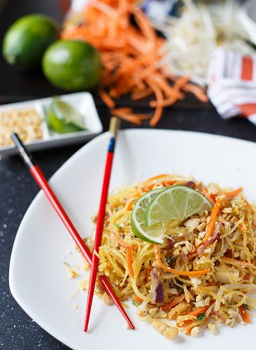 Spaghetti Squash Pad Thai – Substituted chicken for tofu, added peanut butter, coconut milk, soy sauce, ginger, and sesame oil to