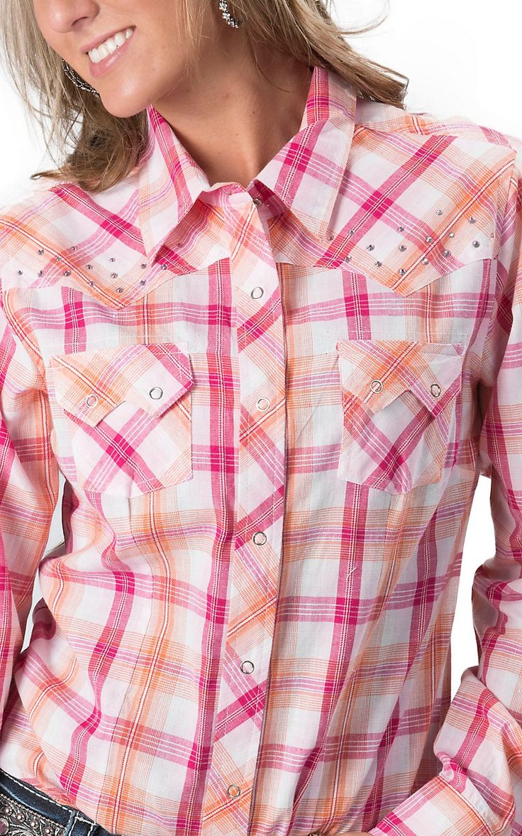 Download Cumberland Outfitters® Women's Orange & Pink Plaid L/S ...