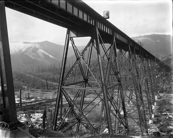 The Northern Pacific Railroad trestle, just east of Lester ...