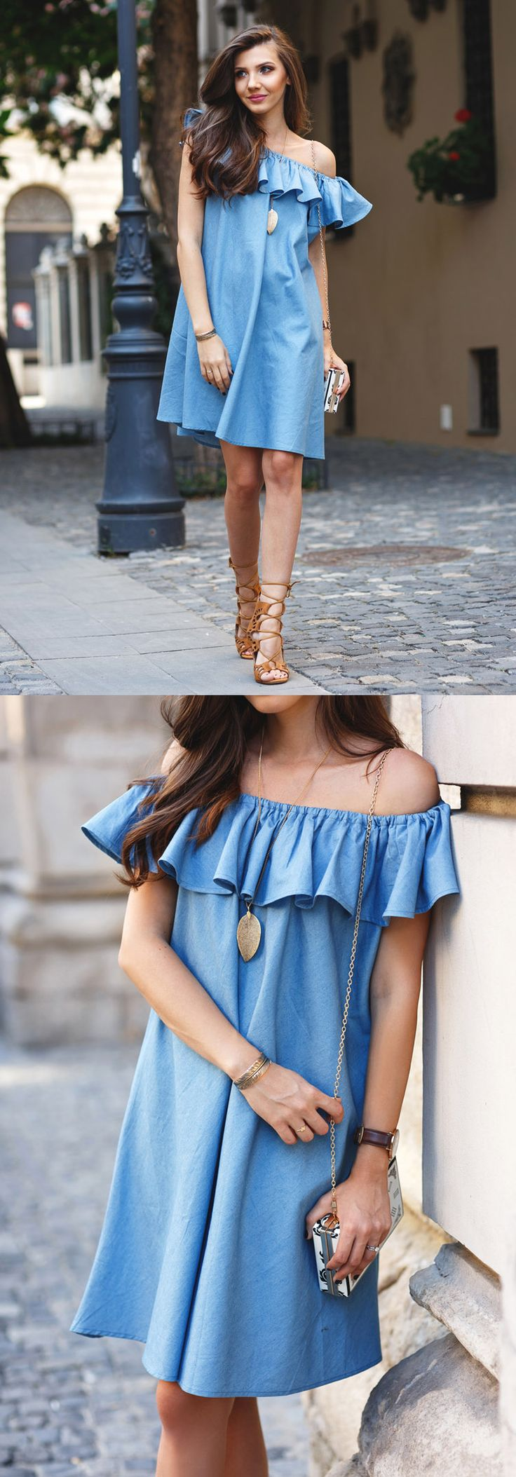 Marvel at the casual-chic simplicity of this denim dress' relaxed fit, frilling elastic shoulder, and soft