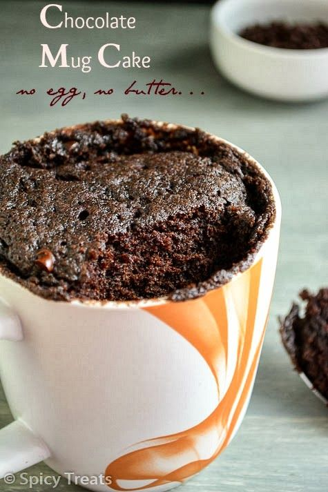 All you need is just 2 minutes to enjoy this chocolaty treat – no egg, no butter Instant Chocolate Cake in Mug!!