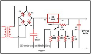 Variable Voltage Power Supply from Fixed Voltage Regulator | Circuit diagram, The o'jays and
