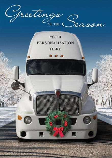 Personalized Christmas Holiday Cards Semi Truck Deck
