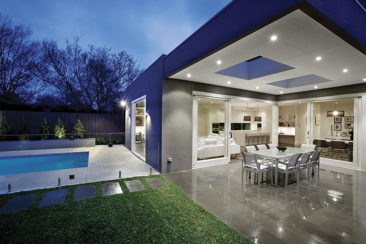 exterior-modern-look-of-entertaining-area-with-pool-and ... on Outdoor Living Space Builders Near Me  id=20556