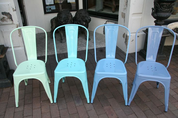 Tolix Chairs In Light Turquoise