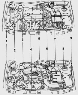 Ford Fiesta engine diagram  motor partments with
