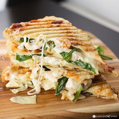 Spinach & Artichoke Panini – grilled chicken, marinated artichoke hearts, baby spinach, garlic spread, and