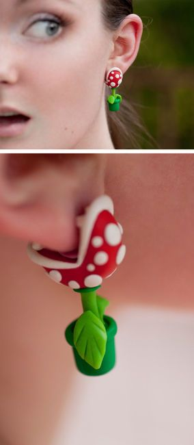 super mario phiranja plant fülbevaló