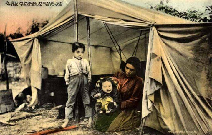 Athabascan Mother And Children Near The Tanana River In