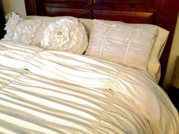 White Gathered King Duvet Cover And Ruffle Pillow Set Shabby Chic Bedding Vintage Style