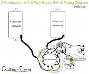 2 Humbuckers with 5 Way Rotary Switch Wiring Diagram