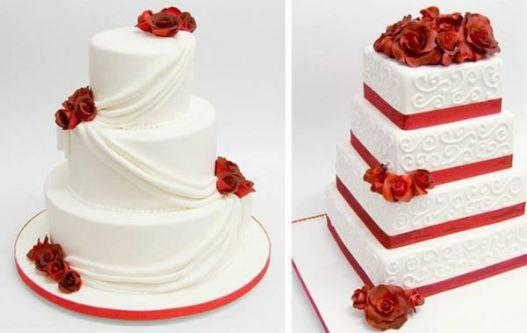 Elegantes pasteles de bodas con toques en rojo!!: