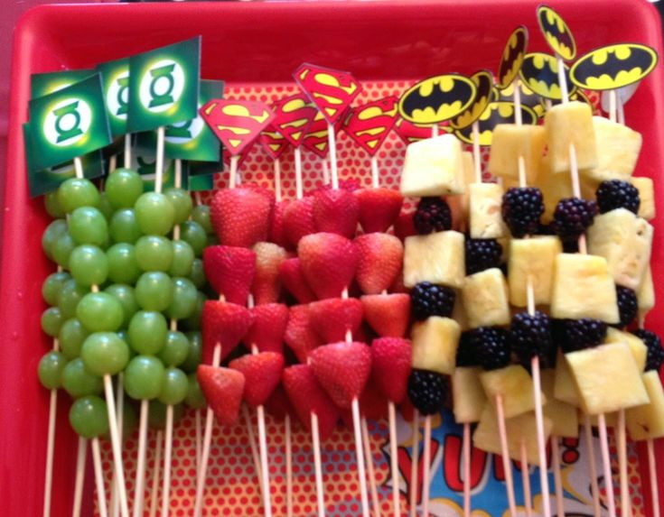 fruit kabobs–I ran out of time to put the fruit on the sticks, but having them in rows looked just as nice