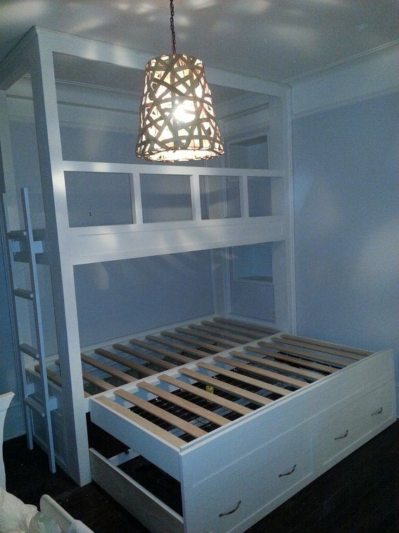 Built In Twin Beds Handmade Twin Over Twin Built In Bunk