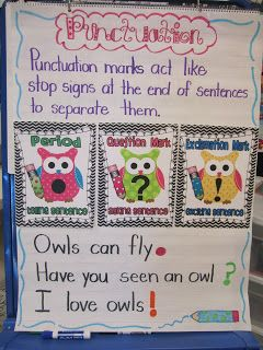 First Grade Glitter and Giggles: Owl Punctuation–Great idea to use classroom th