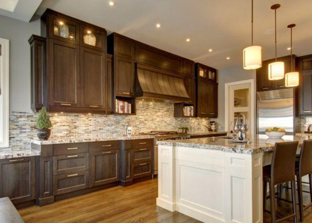 dark cabinets white island dark kitchen pinterest on beautiful kitchen pictures ideas houzz id=33730