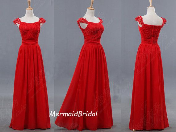 2013 Simple Chiffon Red Prom Dresses, A-line Evening Gown