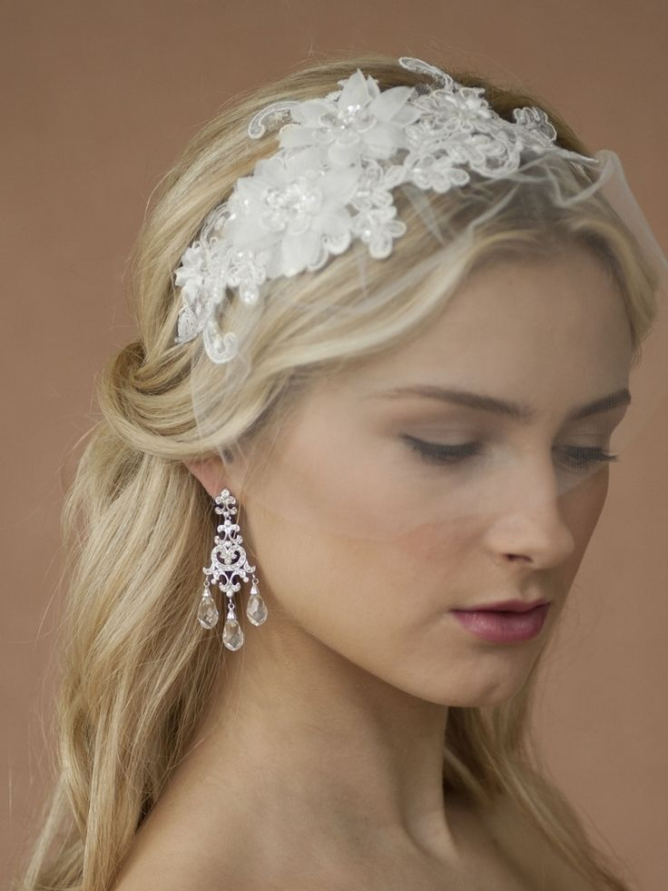 Beautiful Beaded Lace Applique And Face Veil Wedding