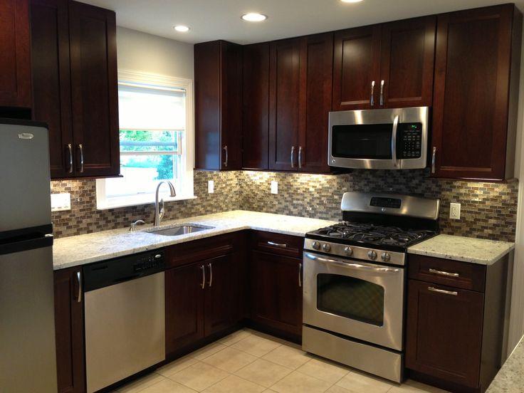 kitchen remodel dark cabinets backsplash stainless steel appliances tile floor small on kitchen remodel appliances id=82036