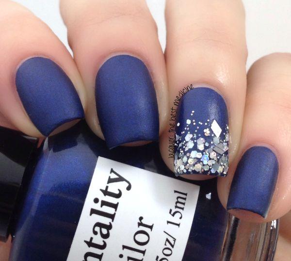 Navy blue matte& sparkles