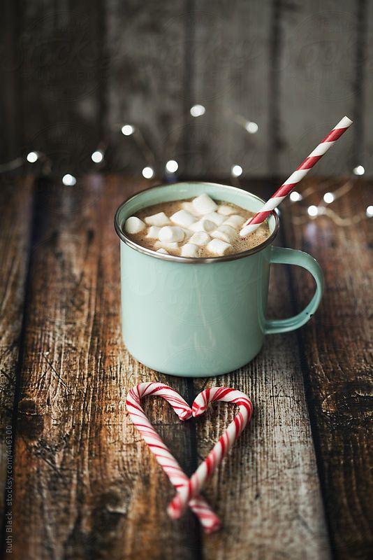 Hot chocolate in an enamel mug by Ruth Black: