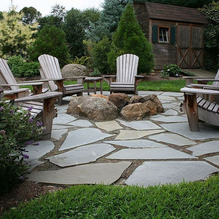 17 Best images about Patio ideas for leftover flagstone on ... on Small Backyard Stone Patio Ideas id=41750