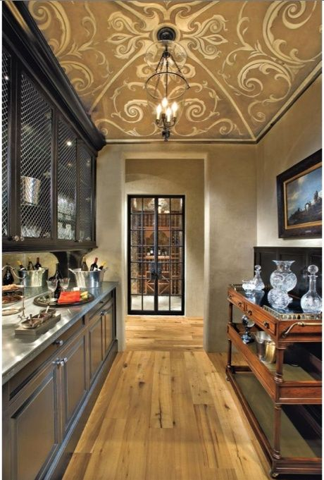 This Narrow Butlers Pantry Is Adorned With An Intricately Painted Ceiling AWESOME KITCHENS
