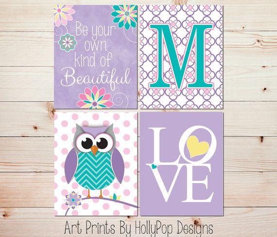 Nursery Wall Art Girls Room Decor Girl Owl Art Girl